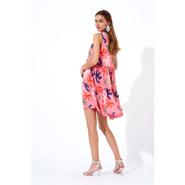 Ruffle Tiered Short Dress in Pink - Becket Hitch
