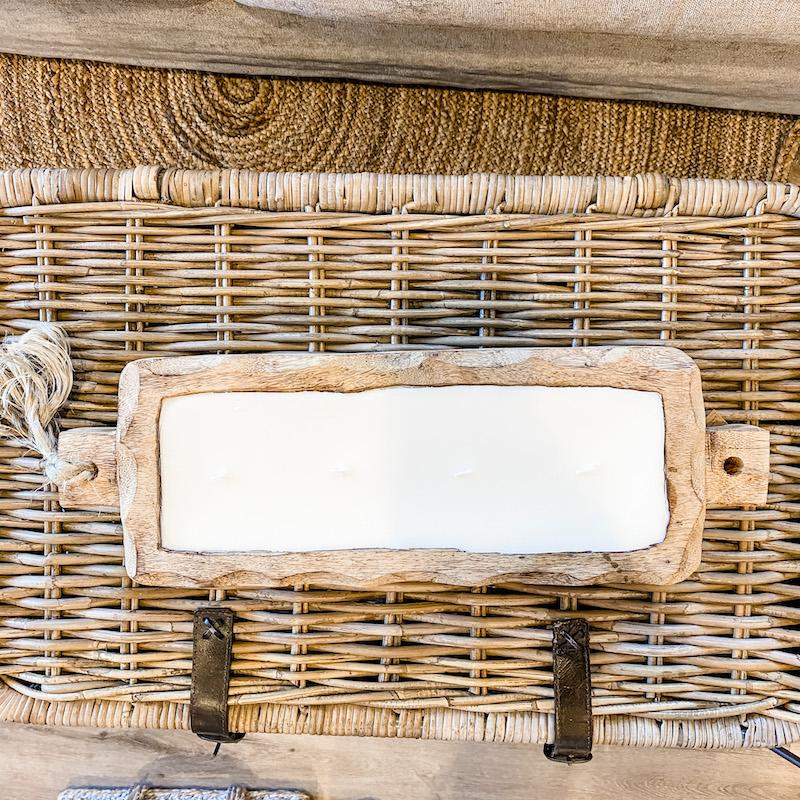 Driftwood Candle Tray  in Grapefruit Pine