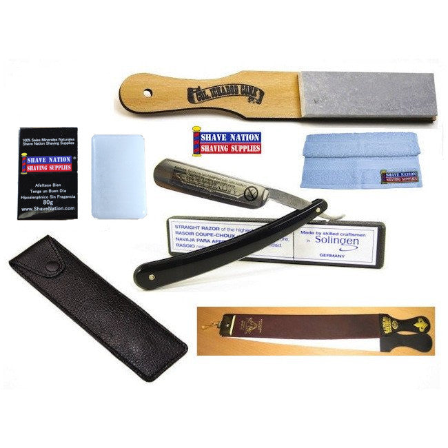Black Straight Razor Shaving Set