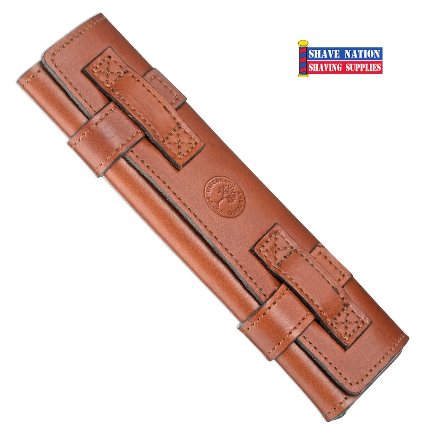 Boker Roll-Up Leather Straight Razor Case Brown