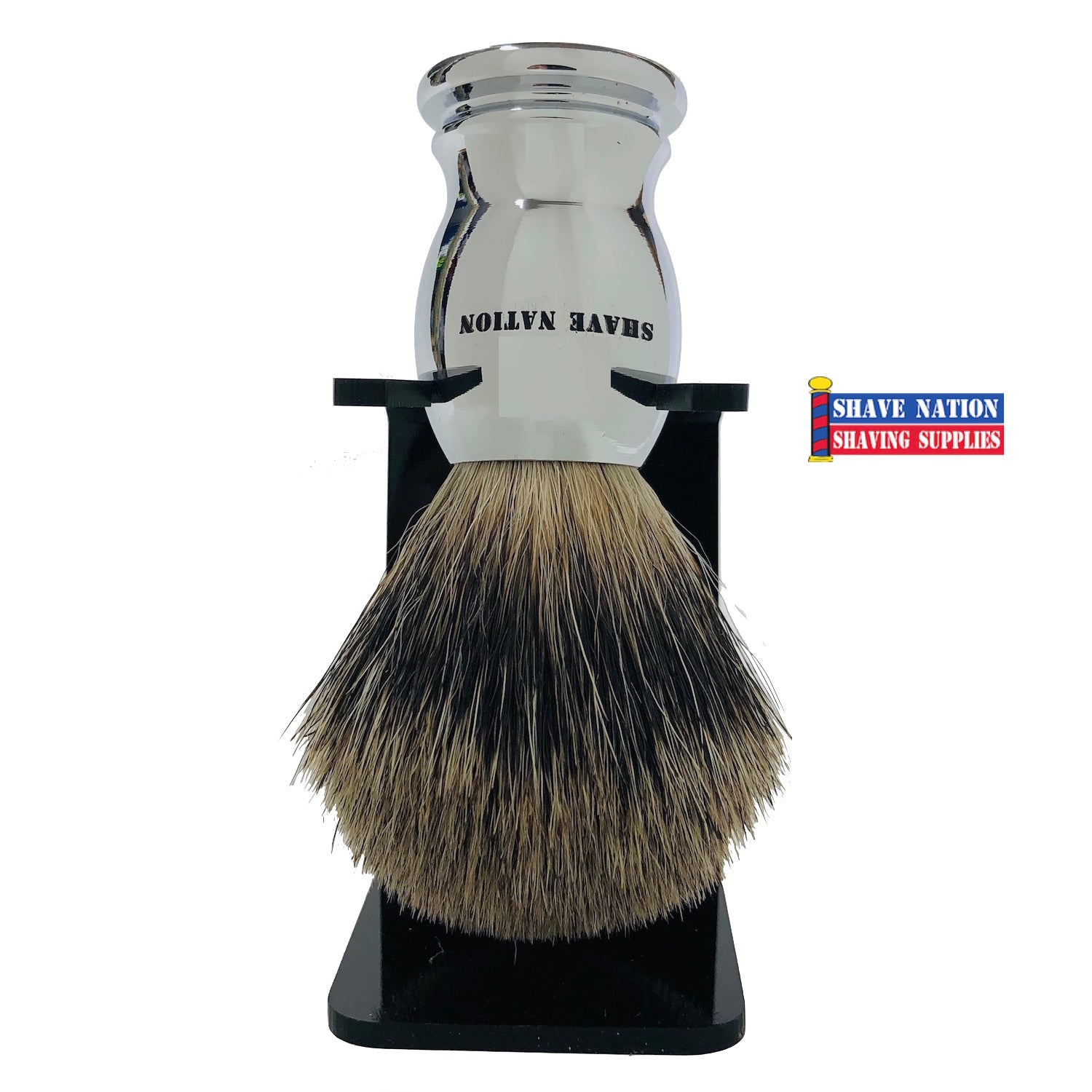 Shave Nation Chrome Handle Pure Badger Brush