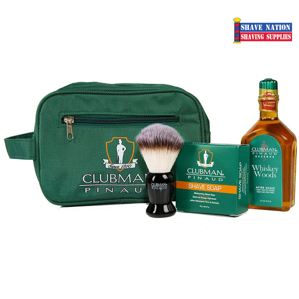 Clubman Pinaud Dopp Kit-Shave Essentials Set with Soap-Brush-Aftershave