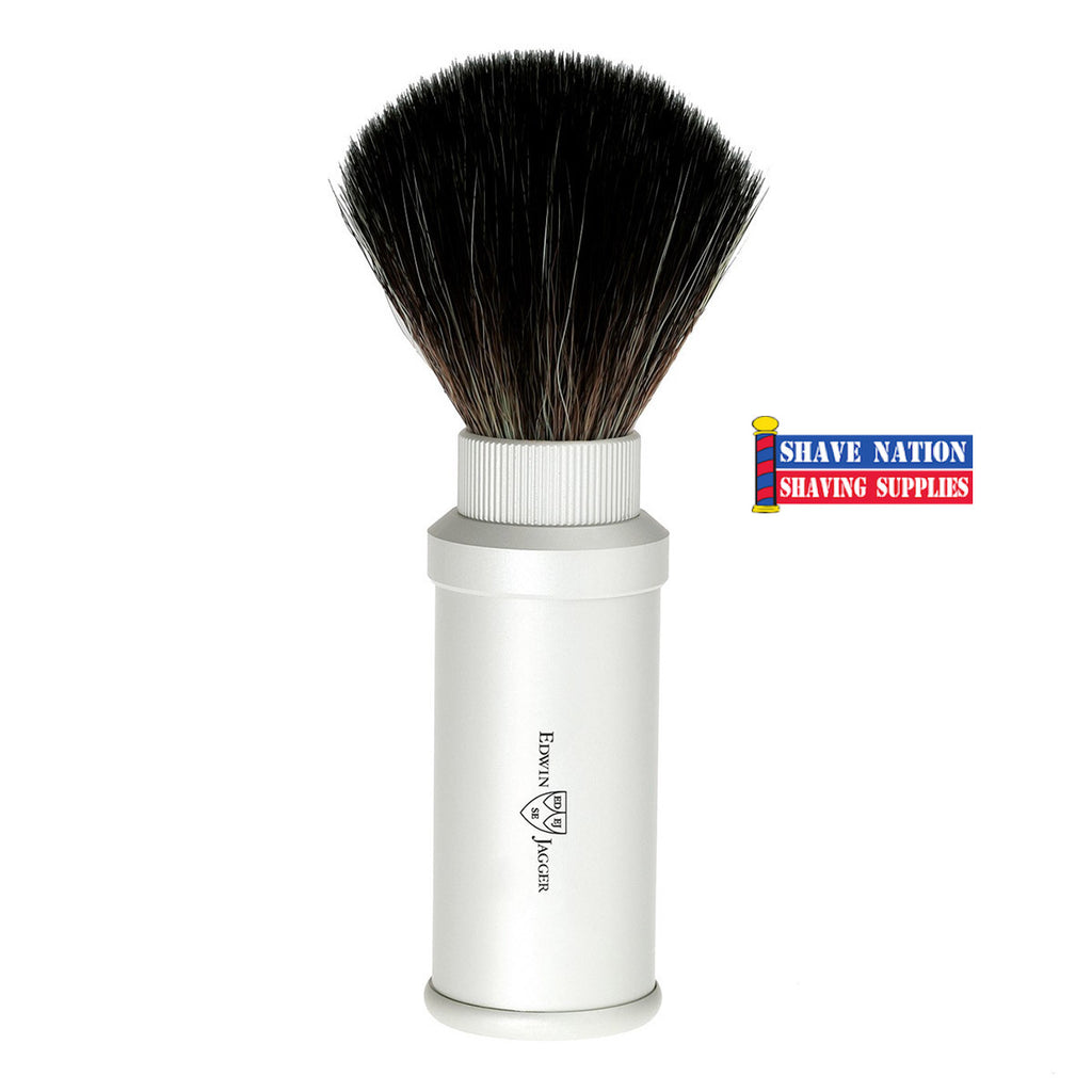 Edwin Jagger Black Synthetic Fibre Travel Brush Silver Satin Anodized Case