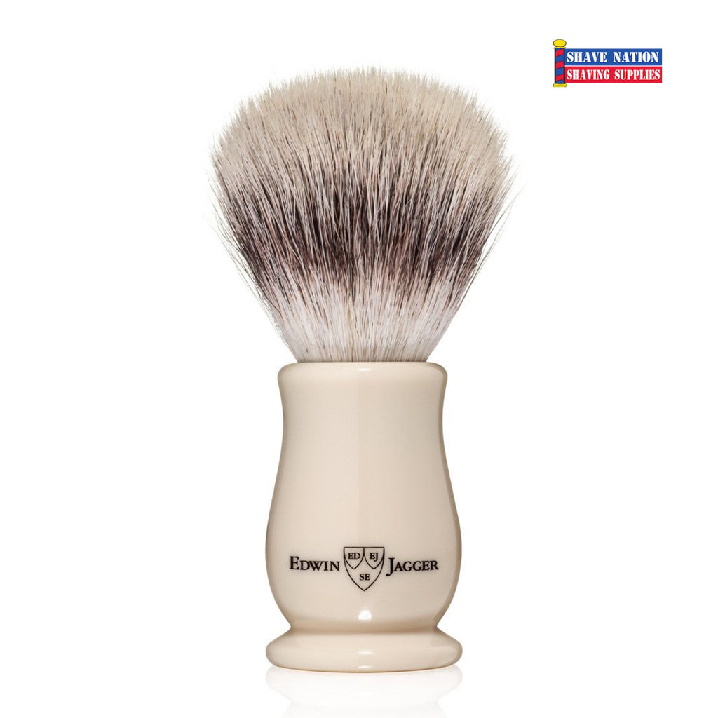 Edwin Jagger Chatsworth Imitation Ivory Synthetic Silvertip Shaving Brush