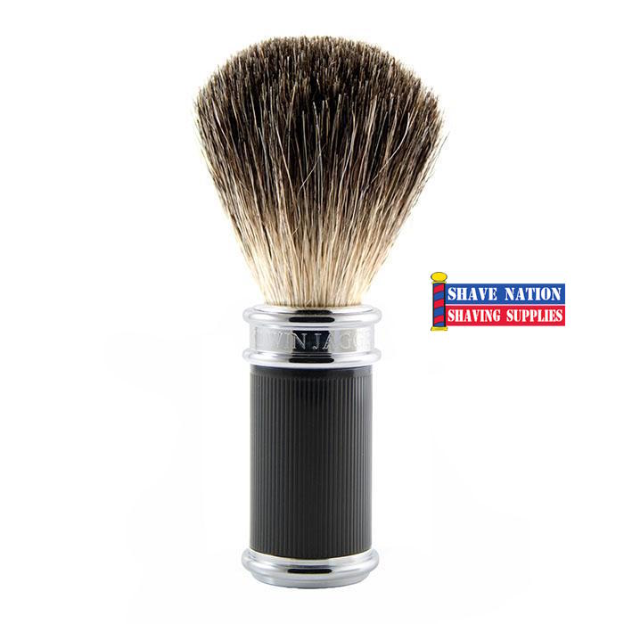 Edwin Jagger Pure Badger Shaving Brush Black Rubber Coated Handle