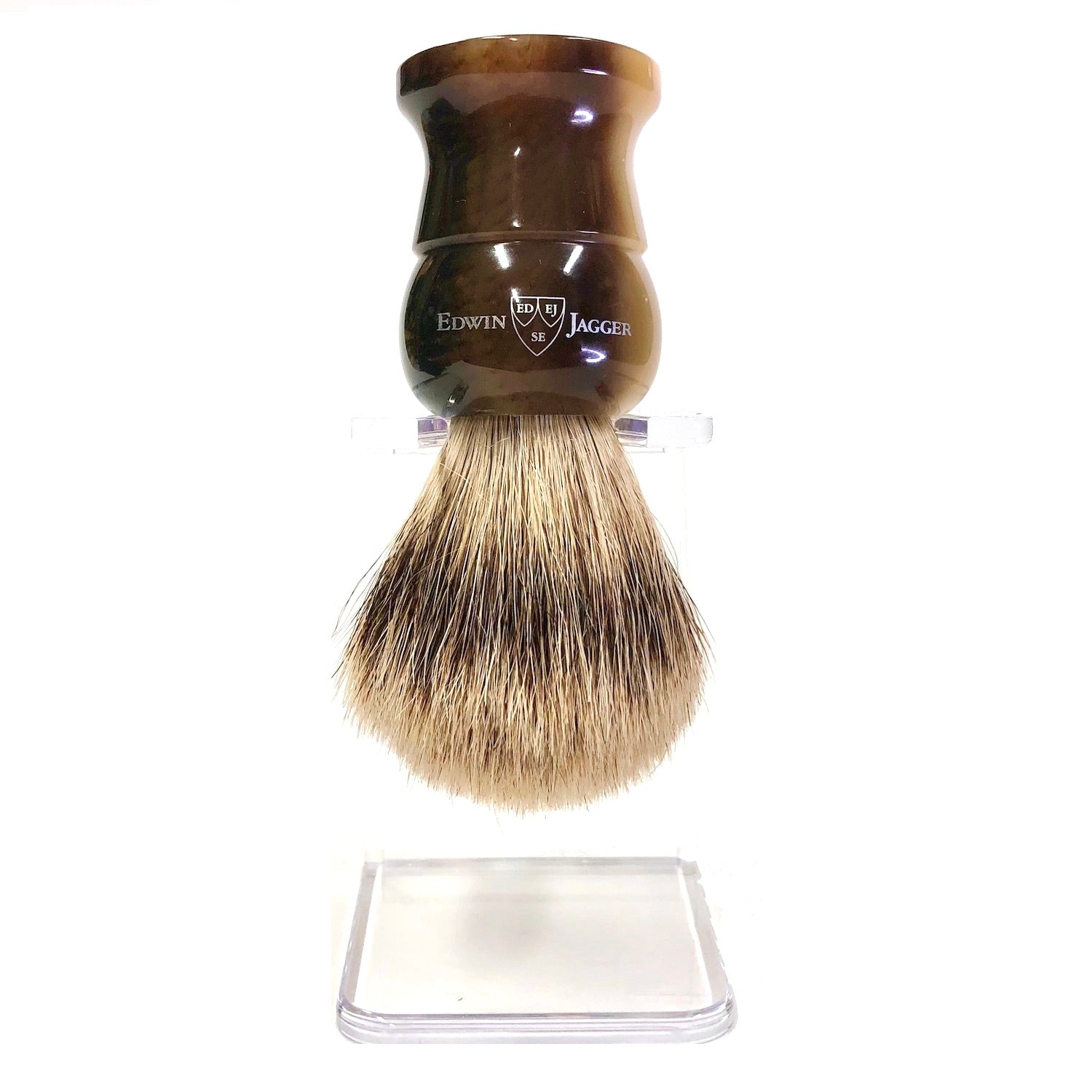 Edwin Jagger Super Badger Shaving Brush with Imitation Horn Handle