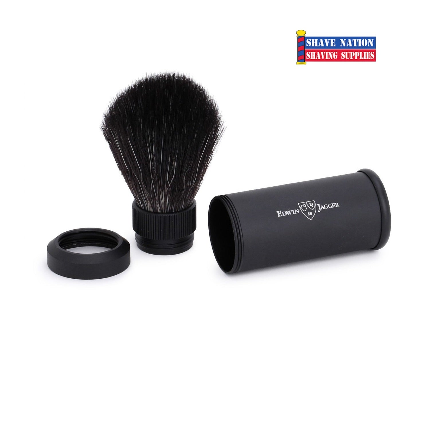 Edwin Jagger Black Travel Shaving Brush-Black Synthetic