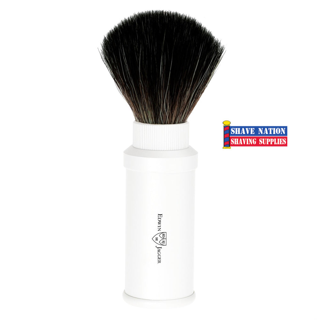 Edwin Jagger White Travel Shaving Brush (Black Synthetic)