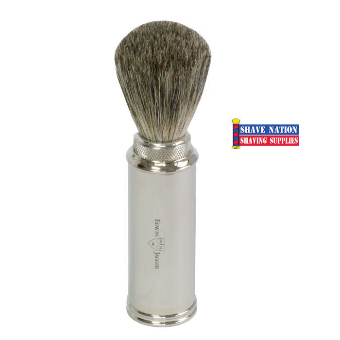 Edwin Jagger Nickel Plated Pure Badger Travel Brush