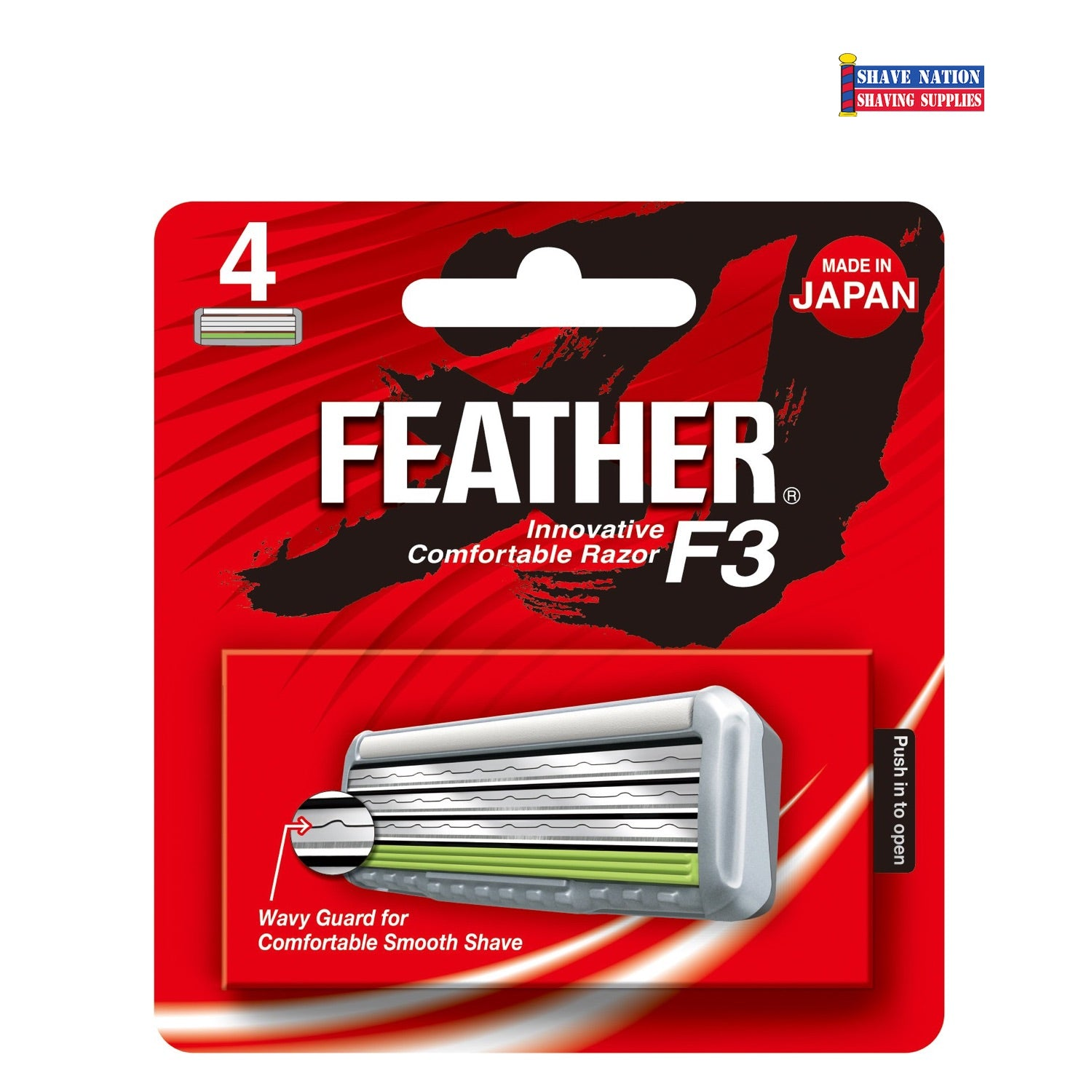 Feather F3 Cartridge Razor Blades-4 Pack