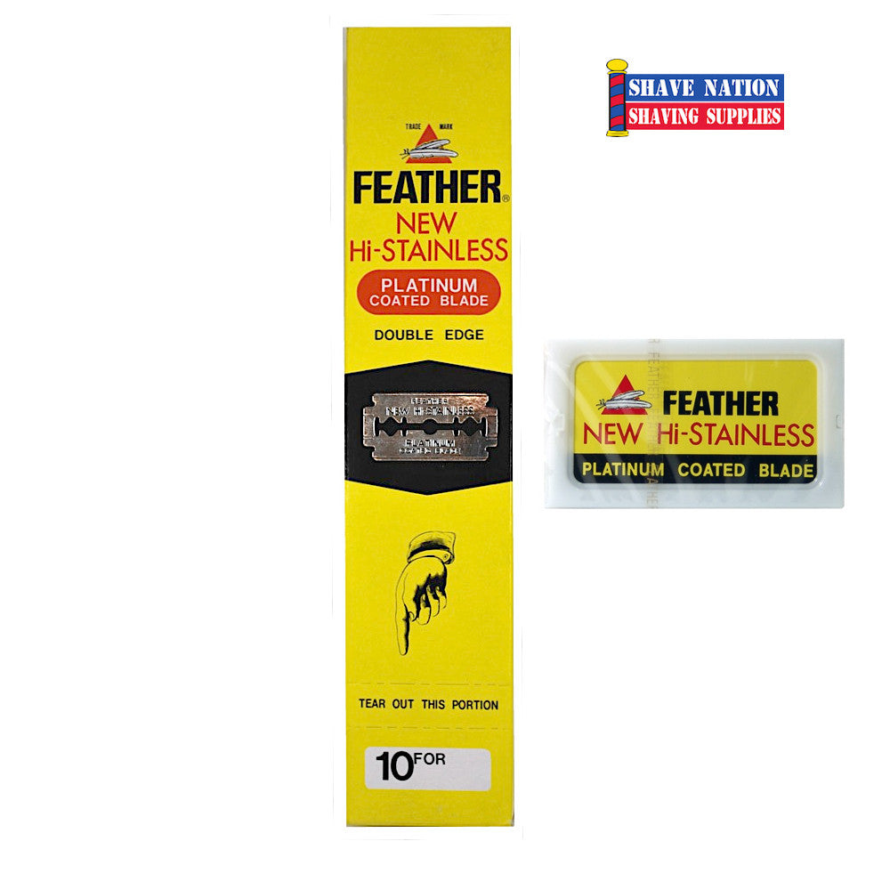 Feather Hi-Stainless DE Blades 10x10 100 CT.