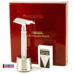 Feather All Stainless Closed Comb Safety Razor & Stand Gift Set