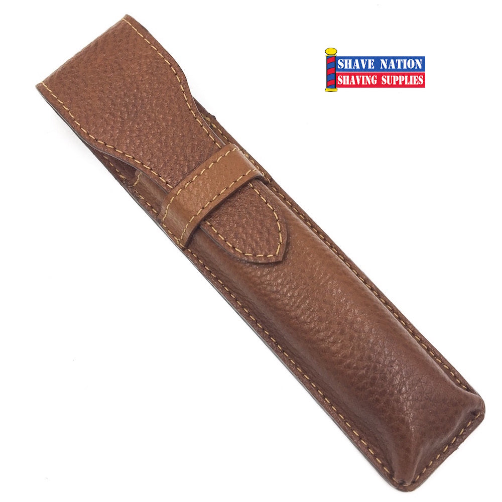 Parker Straight Razor Case Saddle Brown
