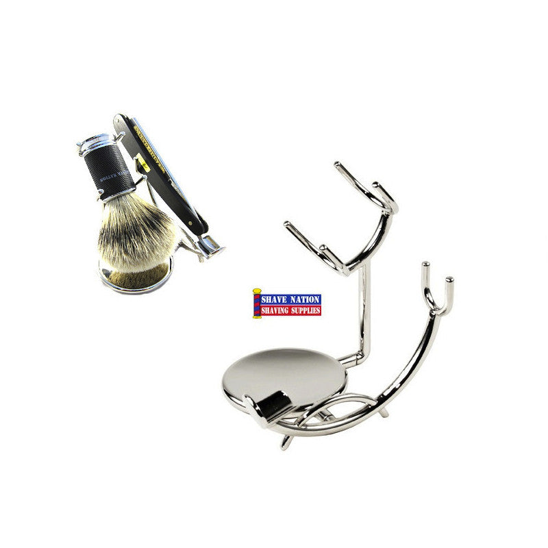 Low Profile Chrome Stand Brush & Razor
