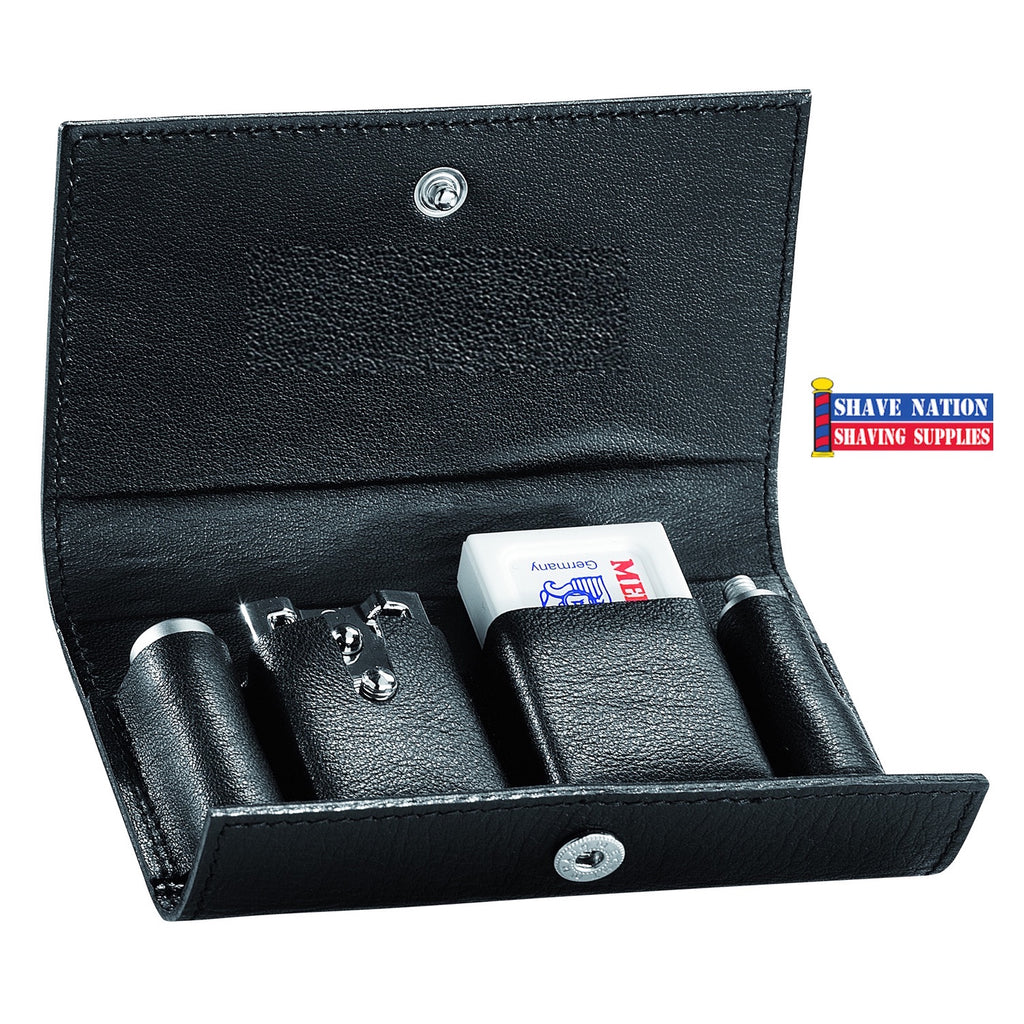 Merkur 46C Satin Safety Razor Travel Set with Blades