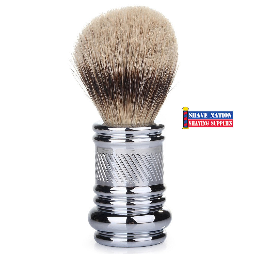 Merkur Silvertip Brush w/ Chrome Barber Pole Handle