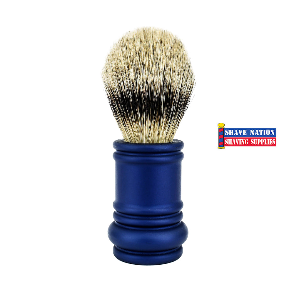 Merkur Silvertip Brush with Blue Barber Pole Handle