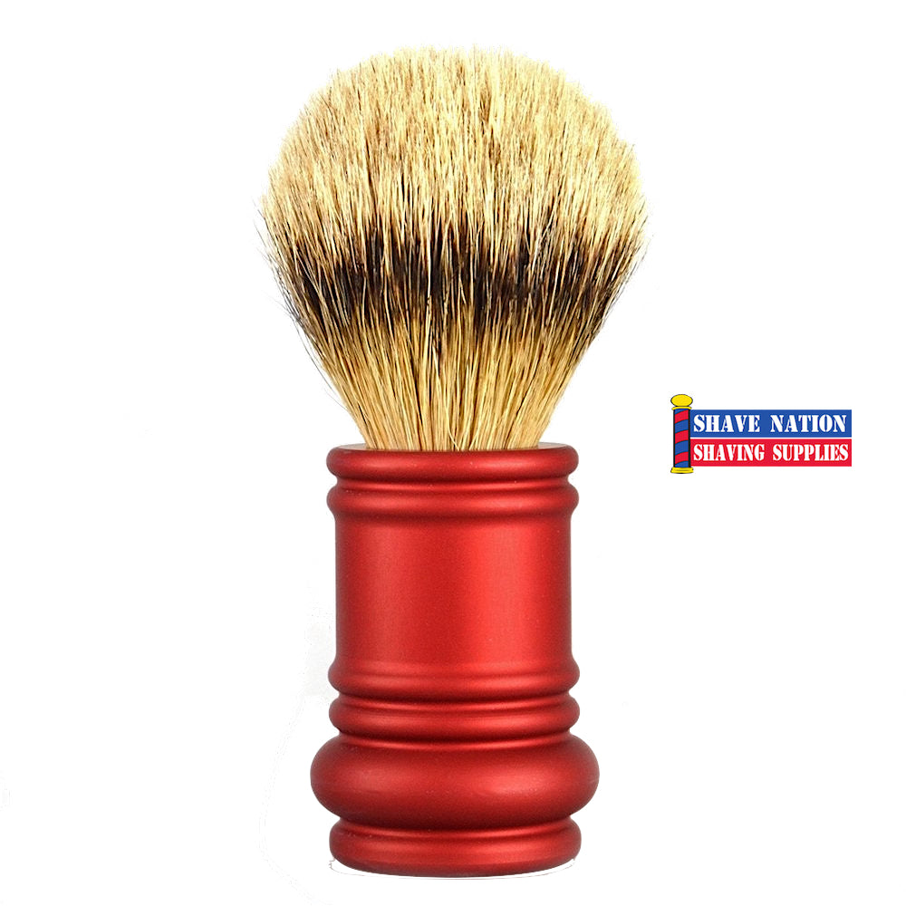 Merkur Silvertip Brush with Red Barber Pole Handle