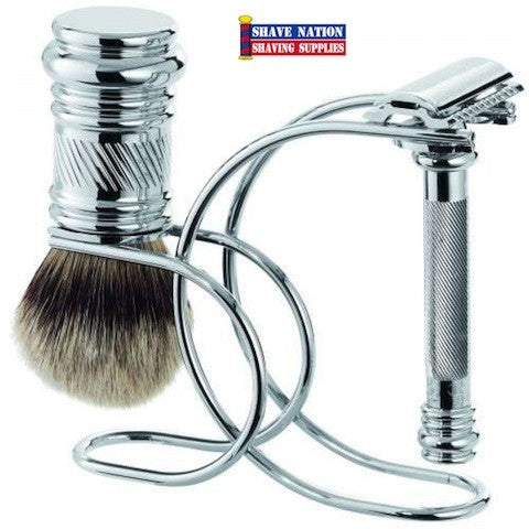 Merkur 38C Chrome Flat Bar Barber Pole Handle Safety Razor Set