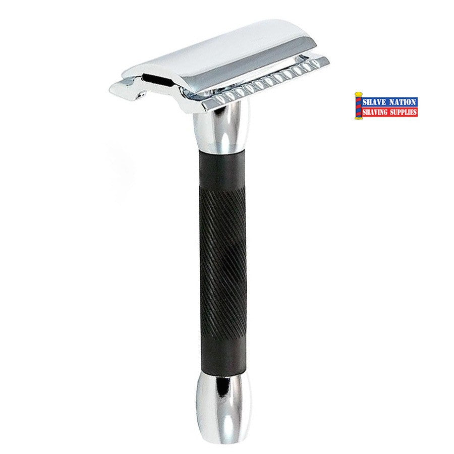 Merkur 30C Chrome & Black Structured Safety Razor Flat Bar