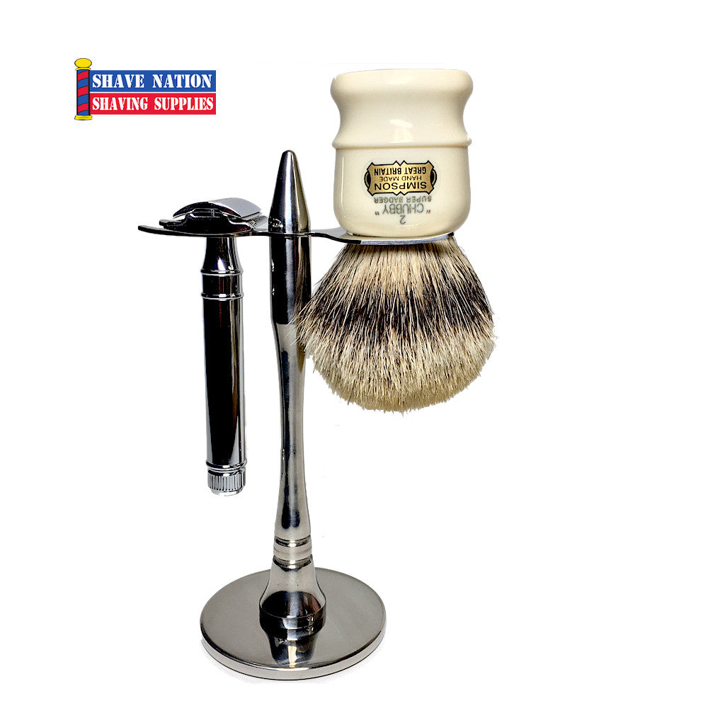 Stainless Steel Safety Razor & Large Brush Shave Stand