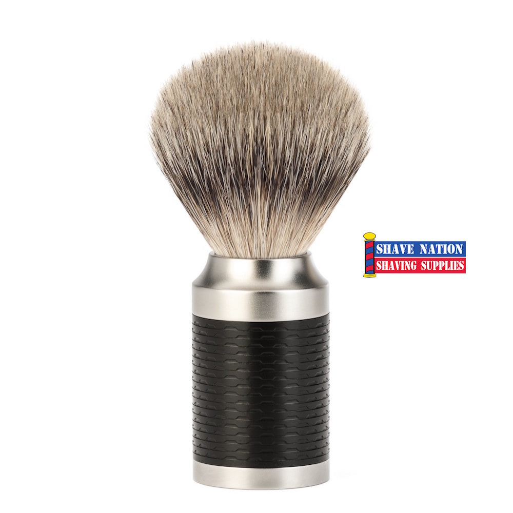 Muhle Rocca Silvertip Badger Shaving Brush Black Handle