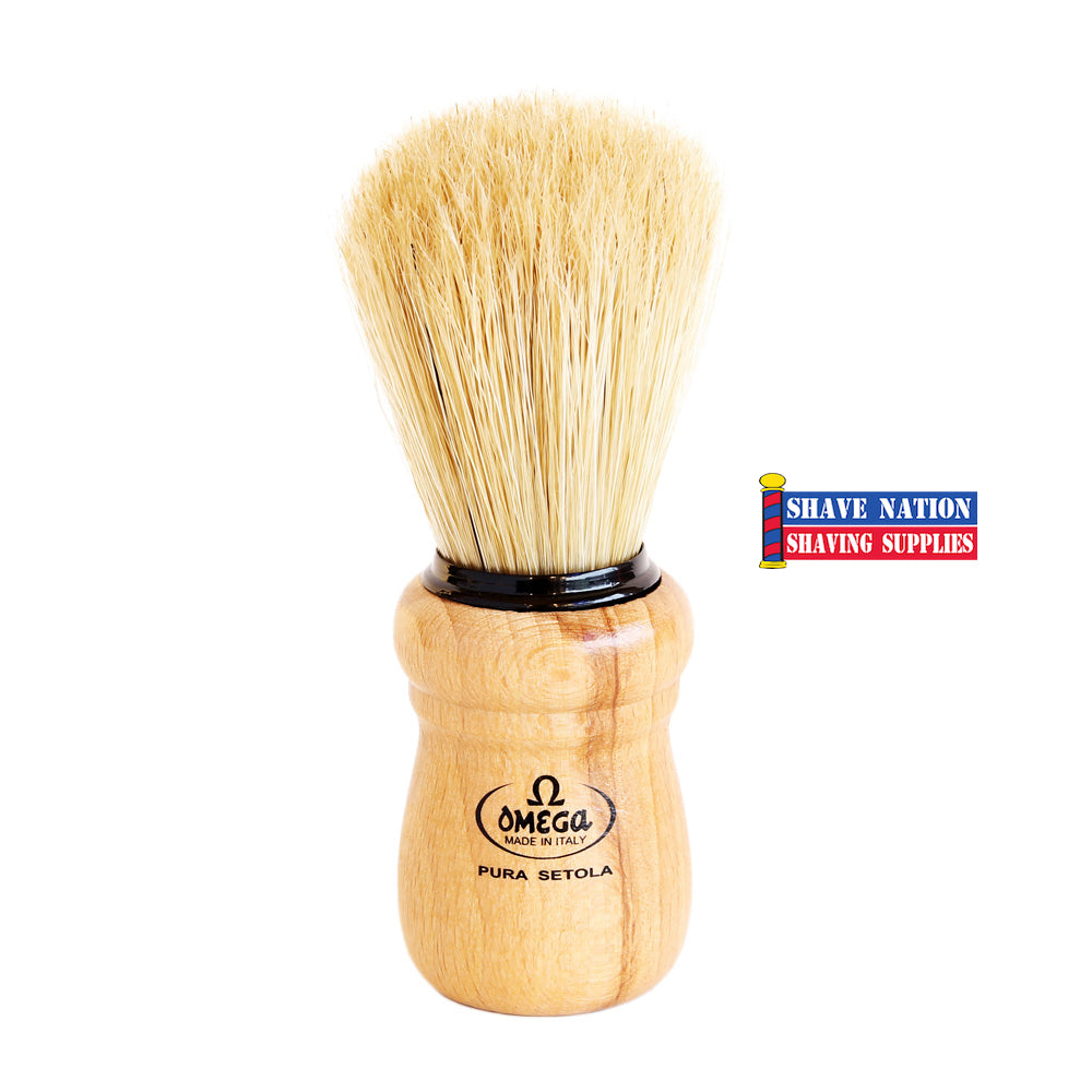 Omega Boar Bristle Brush with Beech Wood Handle