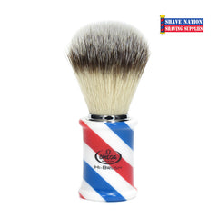 Omega Hi-Brush with Synthetic Bristles and Barber Pole Handle