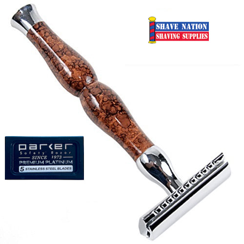Parker Closed Comb Safety Razor Heavyweight Three-Piece Art-Deco 45R