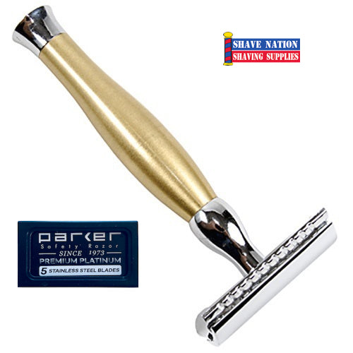 Parker Closed Comb Gold Heavyweight Three-Piece Safety Razor 48R