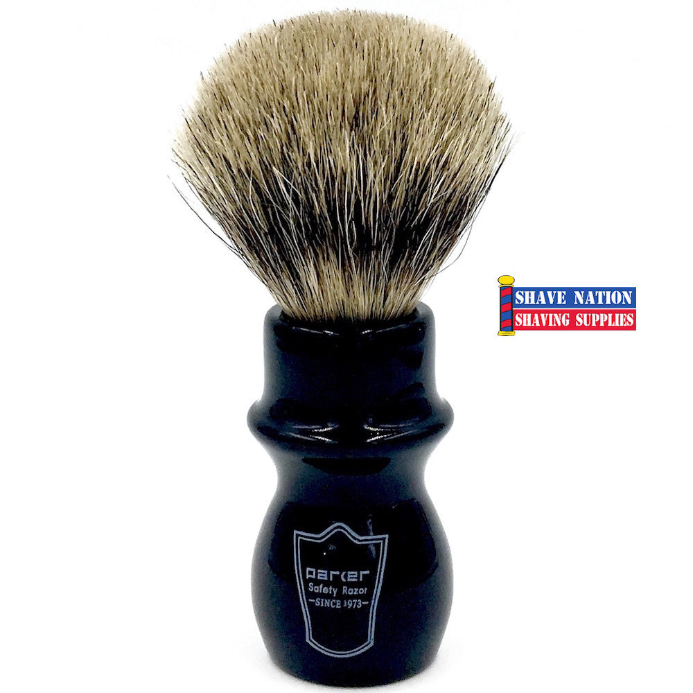 Parker Pure Badger Mug Shave Brush Black Handle