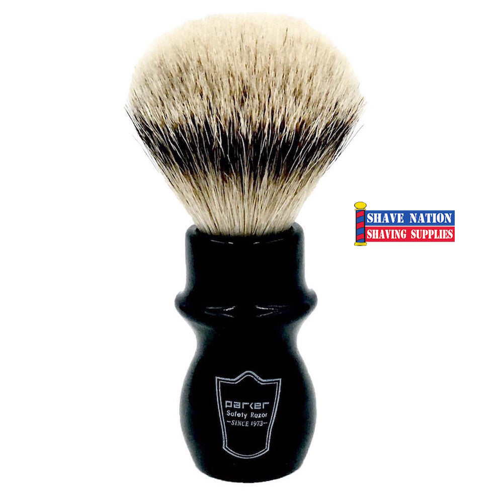 Parker Silvertip Badger Mug Shave Brush Black Handle