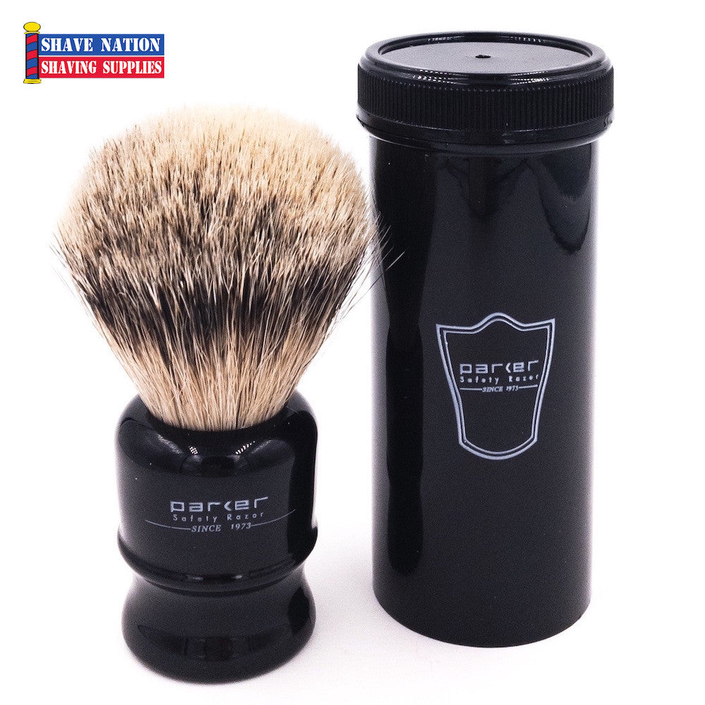 Parker Silvertip Badger Travel Brush in Black Case