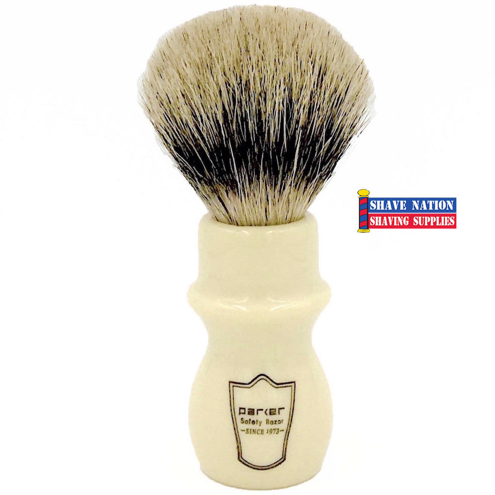 Parker Silvertip Badger Mug Shave Brush White Handle