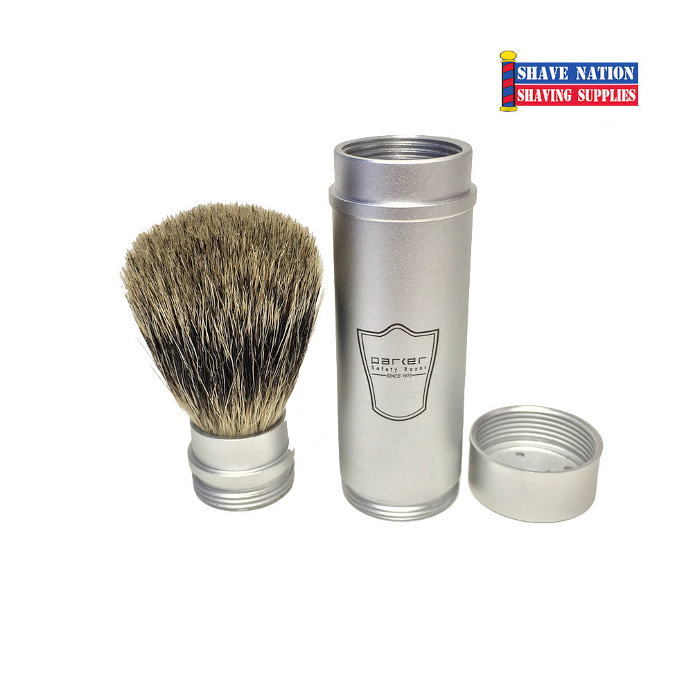 Parker Pure Badger Silver Travel Brush