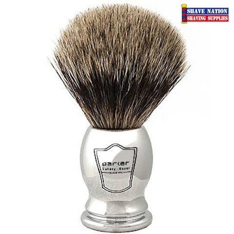Parker Pure Badger Brush Heavy Chrome