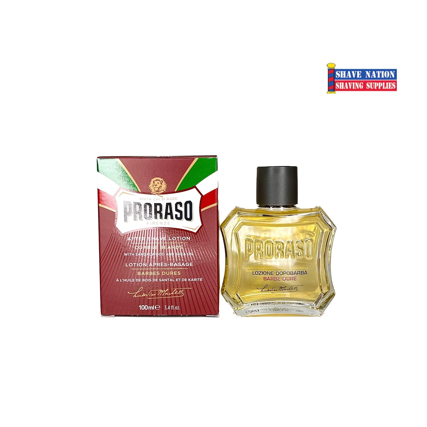 Proraso Aftershave Lotion Sandalwood-Nourish-Red