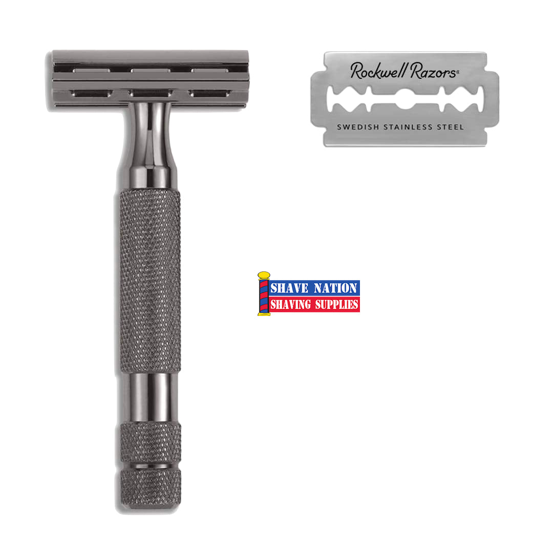 Rockwell 2C Adjustable Safety Razor-Gun Metal or White Chrome