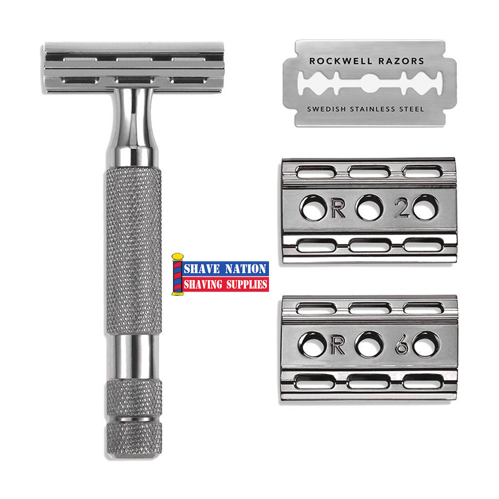 Rockwell 6C White Chrome Adjustable Safety Razor