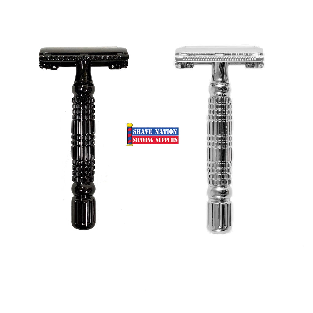 Rockwell R1 Butterfly Safety Razor Gun Metal or White Chrome