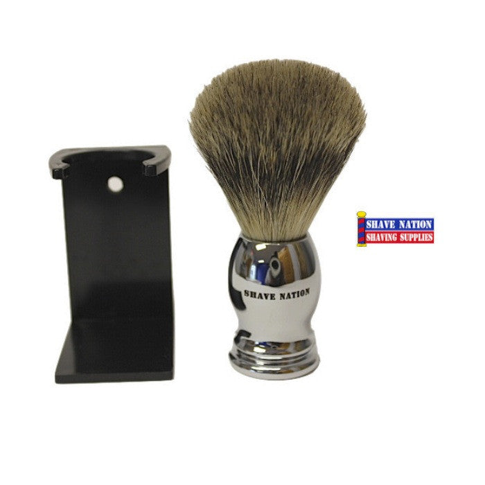 Shave Nation Chrome Pure Badger Brush