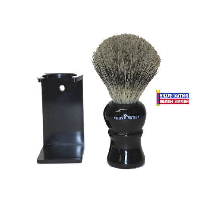Shave Nation Pure Badger Brush Ebony Handle