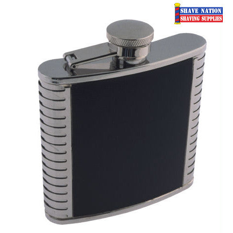 Stainless Flask Black Leather 5oz