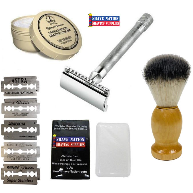 """The Favorite"" Long Handle 23C Beginners Safety Razor Set"