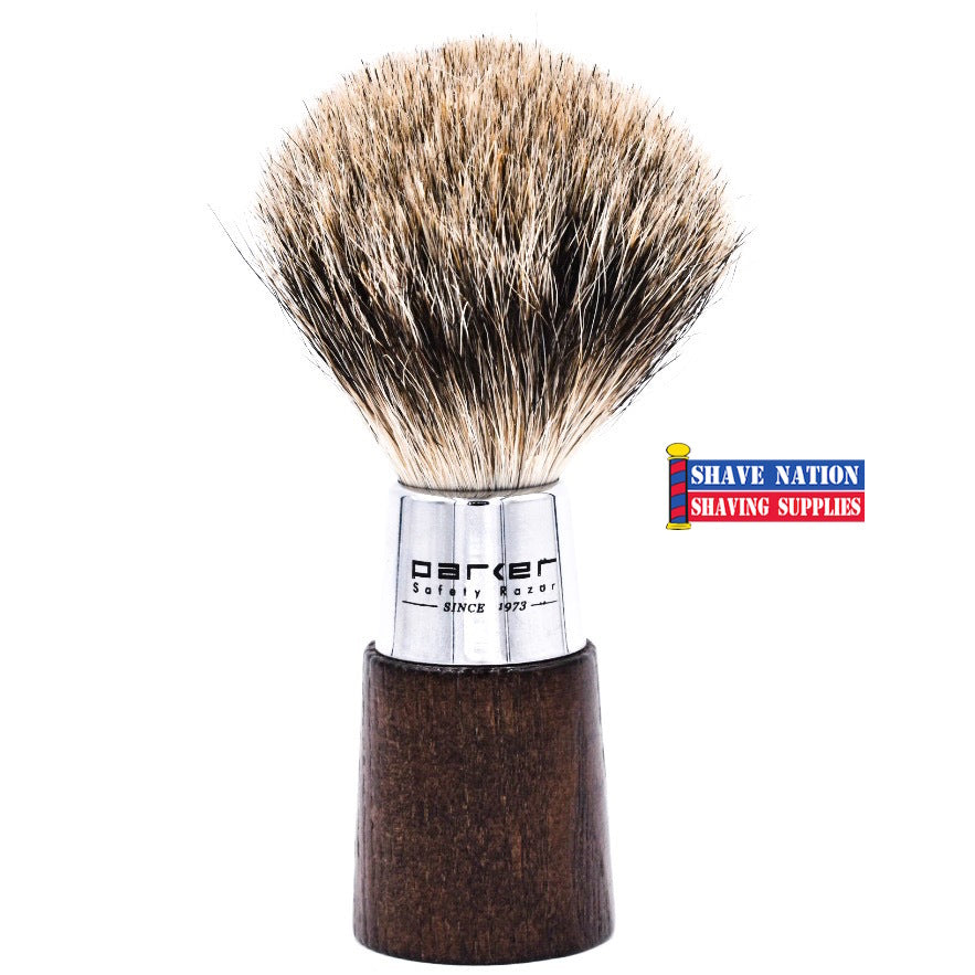 Parker Walnut & Chrome Handle Pure Badger Brush