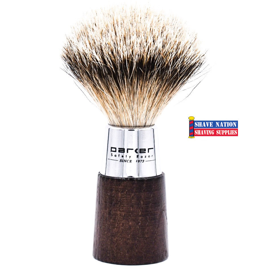 Parker Walnut & Chrome Handle Silvertip Badger Brush