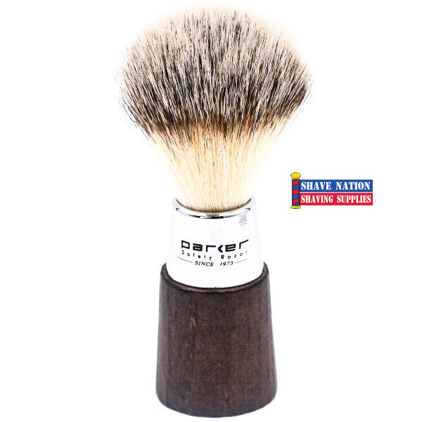 Parker Walnut & Chrome Handle Synthetic Bristle Brush