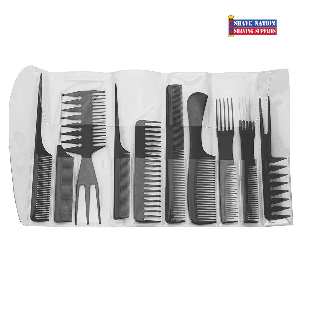 Diane Assorted Comb Set 10-Pack-Black with Case