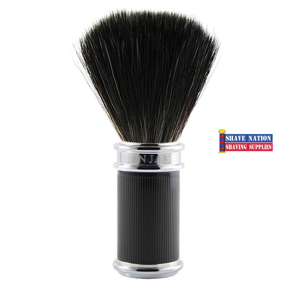 Edwin Jagger Black Synthetic Shaving Brush Black Rubber Coated Handle