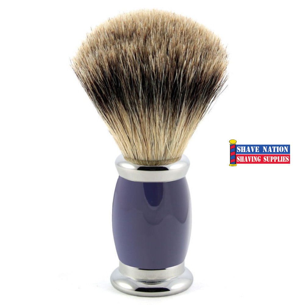 Edwin Jagger Best Badger Shaving Brush Bulbous Blue Handle
